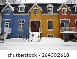colorful street of montreal... | Shutterstock . vector #264302618