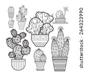 A Set Of Cacti   Line Drawing....