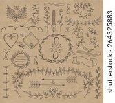 floral doodle set decorations.... | Shutterstock .eps vector #264325883