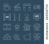 movie line icon set | Shutterstock .eps vector #264326714