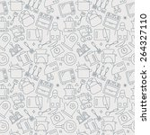 kitchen line icon pattern set | Shutterstock .eps vector #264327110