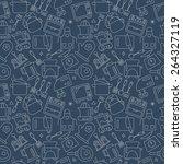 kitchen line icon pattern set | Shutterstock .eps vector #264327119