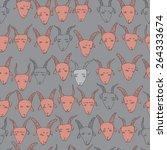 hand drawn goats seamless... | Shutterstock .eps vector #264333674