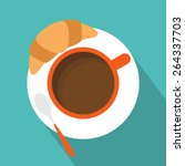 cup of coffee with croissant... | Shutterstock .eps vector #264337703