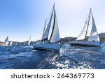 sailing in the wind through the ... | Shutterstock . vector #264369773