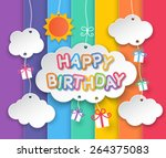happy birthday paper clouds ... | Shutterstock .eps vector #264375083