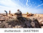 pyramid of the old stones on... | Shutterstock . vector #264379844