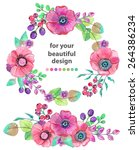 colorful floral card with... | Shutterstock .eps vector #264386234