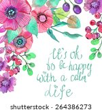 colorful floral card with...   Shutterstock .eps vector #264386273