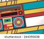 retro styled club flyer... | Shutterstock .eps vector #264390038