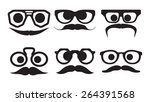 hipster faces expressions  | Shutterstock .eps vector #264391568