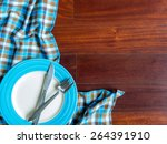 blank plate with fork and knife ... | Shutterstock . vector #264391910