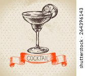 hand drawn sketch cocktail... | Shutterstock .eps vector #264396143