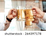 cheers. close up of three cups... | Shutterstock . vector #264397178