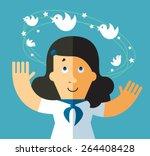 social network dizziness.... | Shutterstock .eps vector #264408428