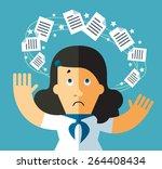 work dizziness. papers floating ... | Shutterstock .eps vector #264408434