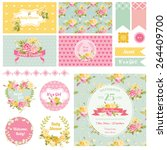 baby shower flower theme  ... | Shutterstock .eps vector #264409700