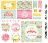 baby shower flower theme  ... | Shutterstock .eps vector #264409700