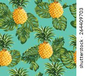 Pineapples And Tropical Leaves...
