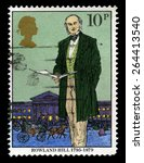 Small photo of UNITED KINGDOM - CIRCA 1979: A used British Postage stamp depicting an image of social reformer and postal administrator Sir Rowland Hill, circa 1979.