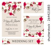 wedding invitation  thank you... | Shutterstock .eps vector #264421883