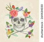 hand drawn decorative skull... | Shutterstock .eps vector #264434030