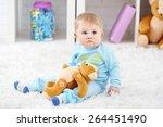 cute baby boy with teddy bear... | Shutterstock . vector #264451490
