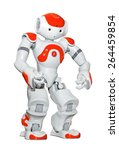 Small photo of ZAGREB, CROATIA - NOVEMBER 21, 2012: Nao robot, autonomous programmable humanoid robot developed by Aldebaran Robotics. They are used for research and education in academic institutions worldwide.