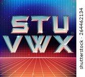 80s retro futuristic font from... | Shutterstock .eps vector #264462134