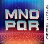 80s retro futuristic font from... | Shutterstock .eps vector #264462158