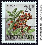 Small photo of NEW ZEALAND - CIRCA 1960: A stamp printed in New Zealand shows Titoki (Alectryon excelsum), circa 1960.