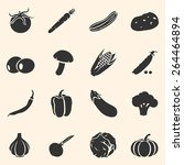 vector set of vegetables icons. ... | Shutterstock .eps vector #264464894