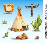 wild west set with cactus ... | Shutterstock .eps vector #264472463