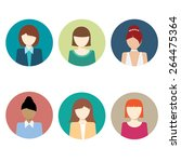 colorful female faces circle... | Shutterstock .eps vector #264475364
