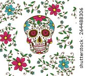 hand drawn day of the dead... | Shutterstock .eps vector #264488306