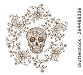 hand drawn day of the dead... | Shutterstock .eps vector #264488336