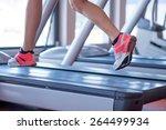 fit female legs on a treadmill...   Shutterstock . vector #264499934