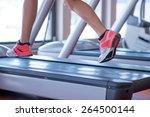 fit female legs on a treadmill...   Shutterstock . vector #264500144
