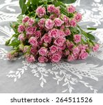 pink bouquet rose on lace | Shutterstock . vector #264511526