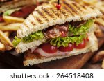 ham and bacon club sandwich on... | Shutterstock . vector #264518408