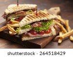 Ham And Bacon Club Sandwich On...