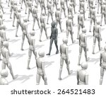 Figure, man in a walking group going upstream, rendering, illustration  on white background
