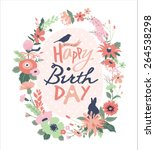 happy birthday. greeting card... | Shutterstock .eps vector #264538298