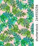 seamless tropical palm pattern. ... | Shutterstock . vector #264553256