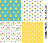 set of cute  seamless... | Shutterstock .eps vector #264556604
