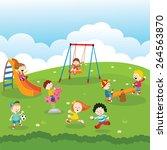 kids at park | Shutterstock .eps vector #264563870