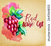 red wine list  watercolor art | Shutterstock .eps vector #264564833
