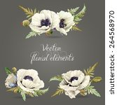 Set Of Floral Elements For...