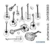 electric guitar hand drawn... | Shutterstock .eps vector #264580883