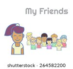 smiling black haired girl... | Shutterstock . vector #264582200